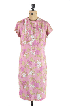 Pink Floral Carnegie of London 1960s vintage shift dress - Size 10